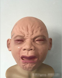 Wholesale haunted house masks - Realistic crying baby mask full head crying face mask wigs Halloween bar room haunted house horror