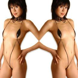 Erotische lederunterwäsche online-Frauen Sexy Dessous Lackleder Strand Bikini Erotische Dessous Heiße Unterwäsche Rot Schwarz PU Bademode Mini Micro Bikini S-XXXL