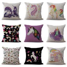Wholesale Carton Shipping - Cute Carton Unicorn Pillow Case Cushion cover Pillow Cover Linen Cotton Square Throw Pillowcases sofa Bed Pillowcover DROP SHIPPING