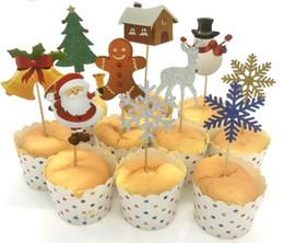 2019 biscotti di natale Natale Cupcake Topper Tema di Natale Babbo Natale Alce Cupcake Topper Picks Decorazioni per feste di Natale Per Bambini Event Party Supplies Fa biscotti di natale economici