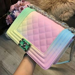 Wholesale handbag candy color rivets - Hot Sell Brand rainbow bag handbags new hit color Ling grid Women Clutch chain shoulder bag Messenger bag Evening Bags Wallet Tote Purse