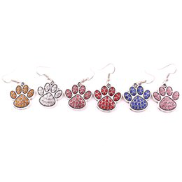 Wholesale dogs earring - Mix Color Crystal Alloy Paw Footprint Charm Fit For DIY Dog Or Cat Or Bear Pet Earrings Jewelry