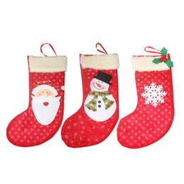 Sacs à main en tissu en Ligne-Fait à la main mignonne pendentif arbre de Noël chaussettes décoration en peluche en peluche sacs cadeaux bonbons cadeaux sacs de fête à la maison 3pcs / lot