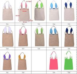Wholesale Jute Handbags - 14styles Cotton&Linen and Jute Easter Bunny Ears Basket Bag For Easter Gift Packing Easter Handbag For Child Fine Festival Gift 255*305*100m