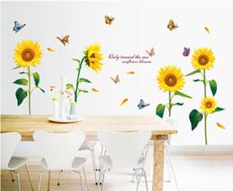 Подсолнечника бабочка красивая спальня стикер стены ТВ фон плакат стены для детей сладкий обои украшения дома cheap sunflower backgrounds от Поставщики подсолнечник