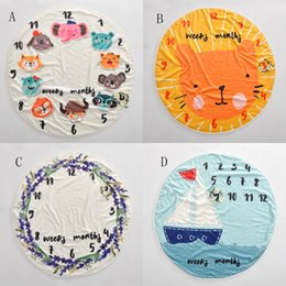 Wholesale Swaddling Wraps - INS Kid Circular milestone Blanket photography background props Blankets infant Swaddling flower number letter newborn baby wraps 95cm C4169