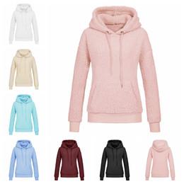 Invierno Sherpa Pullover Hoodie Mujeres bolsillo polar con capucha chaqueta suave abrigo cálido abrigo espesar cálido Outwear 7 color 5size 6pcs LJJA1026 desde fabricantes