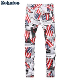 Canada Sokotoo Men 's American Paper Letter Lettres imprimées Jeans Fashion White Denim Léger Slim Jeans cheap american papers Offre