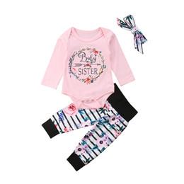 2019 roupas bonitos do bebê para o inverno Bonito Do Bebê Recém-nascido Meninas Outono Inverno Roupas Carta Romper Bodysuit Floral Calças Headband Outfits desconto roupas bonitos do bebê para o inverno
