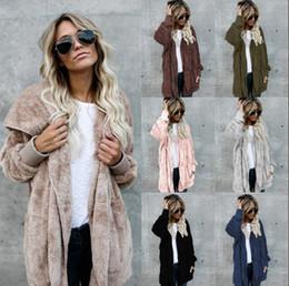 Wholesale Wholesale Soft Fleece Hoodies - Women Sherpa Sweatshirt hoodie long sleeve fleece soft winter cardigan adorable warm women fashion coat Winter Hooded Coat KKA4002