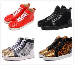 Wholesale Leopard Shoes Cheap - Name Brand Original Box Superstar Leopard Snakeskin Pattern High Top Casual Shoe Man Woman Cheap Sneaker Red Black Flat Sole Size 35-46