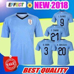 Wholesale National Jerseys - 2018 World Cup Uruguay Soccer Jersey L.SUAREZ E.CAVANI D.GODIN C.STUANI D.FORLAN J.M.GIMENEZ national team jerseys thail football shirts