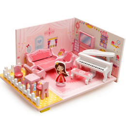 Wholesale 3d Wooden Puzzle House - 3D Kids Doll Houses Cartoon Puzzle Wooden Furniture Piano DIY Doll House Girls Living Room Decoration Craft Toys Gift VE0490