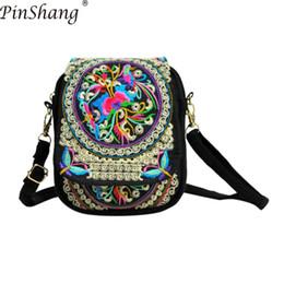 PinShang Женская сумка Мини Холст Сумка National Wind Сотовый Телефон Cash Crossbody Сумка Вышитые сумки для женщин 2018 ZK30 от