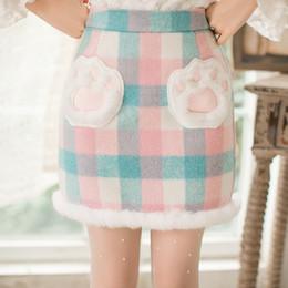 Wholesale High Waist Skirt Korean - Candy rain 2017 Women'S High Waist Hairy Grid Skirt Cute Korean And Japanese Kawaii Thick Skirts For Women C22CD7233