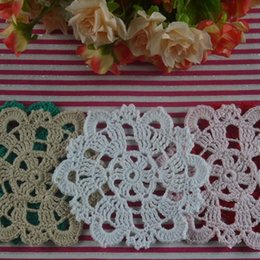 "Wholesale Round Handmade Tablecloth - Wholesale- 10PCS Vintage Handmade Crocheted Doilies 4"" 10cm Round Cup Mat Pad tablecloth Coasters White Wadding Home Decoration"