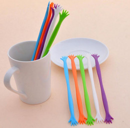 "Wholesale Plastic Coffee Stick - 5pcs set Stir Sticks Five Finger ""HELP ME"" Coffee Stirring Rod Juices Spoon Bar Rabble Rods Drink Stir Stick Tools KKA3951"