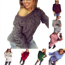 2019 suéter de un color de punto Suéteres de las mujeres sólidas 13 colores mujeres de un tamaño jersey de punto rusos abrigos de invierno europeo cálido FS5791 rebajas suéter de un color de punto