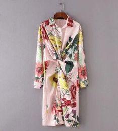 Wholesale kimono decoration - 2018 women vintage front blowknot decoration striped dress elegant fashion lady long sleeve printing casual slim dress DS0381