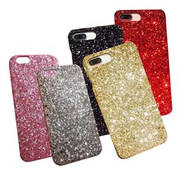 Wholesale Gel Mobile Phone Covers - Gold Bling Powder Bling Siliver Phone Case For iphone x 8 7 6 6s 5 5S Plus Cellphone Bulk Luxury Sparkle Rhinestone Crystal Mobile Gel Cover