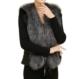 Wholesale Winter Elegant Coat Short - Female Fur Vest New Women Winter Waistcoat Real Leather Fur Coat Vest Jacket Sleeveless Outerwear Faux Elegant XXXL