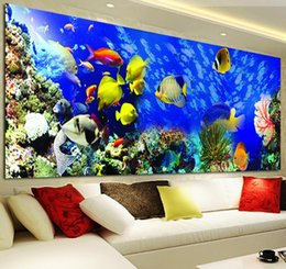 Wholesale Embroidery Fish - DIY Diamond Embroidery Round Diamond Ocean Fish Landscape Full rhinestone 5D Diamond painting cross stitch Craft tools
