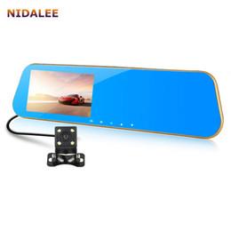 obiettivo nero doppio dell'automobile Sconti NIDALEE Mirror Car DVR Telecamera FHD 1080P Registratore video Registratore Dual Lens Parking Monitor Auto Black box Logger Visione notturna