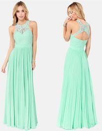 Wholesale Light Blue Tank - 2018 New Spring Mint Green Chiffon Tank Crew Neck Long Bridesmaid Dresses Illusion Lace Sleeveless Backless Ruffles Wedding Party Dresses