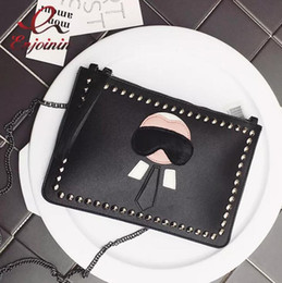 personalized handbags Coupons - New Cartoon design personalized fashion Lafayette rivets envelope bag clutch purse handbags casual shoulder bag black & silver