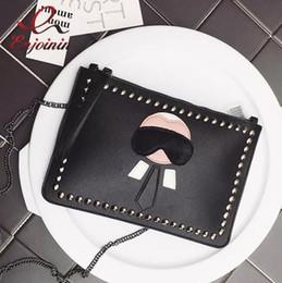 enveloppes ouvertes Promotion New Cartoon design personnalisé mode Lafayette rivets enveloppe sac embrayage sac à main sacs à main casual sac à bandoulière noir argent