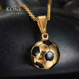 Wholesale Wholesale Sports Horns - whole saleRock Punk Football Soccer Pendant Stainless Steel Sport Necklace For Men Gift Collares Mujer