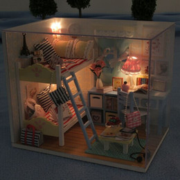 Wholesale Miniature House Lights - Hoomeda DIY Wood LED Light Doll house Children's Memories With Miniature Furniture Dust Cover Dollhouse Gift For Children Girls