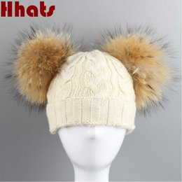 Wholesale Double Ball Wool Cap - Which in shower woman girl winter hat with fur pom pom ball fashion parent-child double real raccoon fur pompom cable knit hat