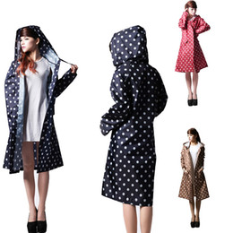 0ef55ecc8f4 Waterproof Raincoat Women Dot Fashion Long Ladies Raincoat Over Knee With  Hood And Packing Pouch Pocket Poncho Coat Rainwear