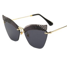 diamante sem aro Desconto Marca Designer Gato Óculos De Sol Das Mulheres Gradiente de Moda Espelho de diamante Óculos de Sol Sem Aro de Armação de Metal Óculos De Sol UV400 com caixa FML