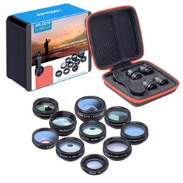 Wholesale Galaxy Lens Kit - 10in1 Phone camera Lens Kit Fisheye Wide Angle macro 2X telescope Lens for iphone xiaomi samsung galaxy android phones
