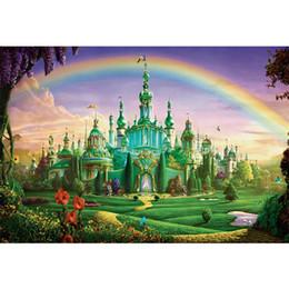 toile de fond la photographie de fête Promotion Fairytale Wonderland arc-en-ciel enfants Château toile de fond Photographie Brick Path Fleurs Princesse Fille Birthday Party Sur Thème Photo Booth Background