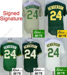miller sign 2018 - Signed Signature Rickey Henderson baseball Jersey with 50th Patch 24 Oakland baseball Jerseys Flexbase Cool Base Vintage