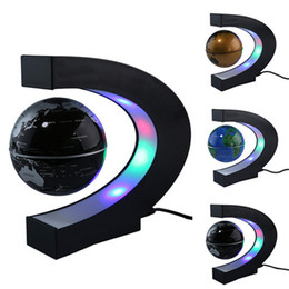 "Wholesale Floating Homes - US EU UK Plug 3"" Home Office Decoration LED Tellurion Globe C Shape Floating Magnetic Levitation Globe Light World Map With LED Tellurion"