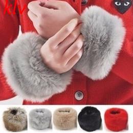Pelzhandschuhe online-Frauen Faux Fur Cuff Oversleeve Wrist Gloves Wristband Winddicht Arm Warmer Sleeves Wristband
