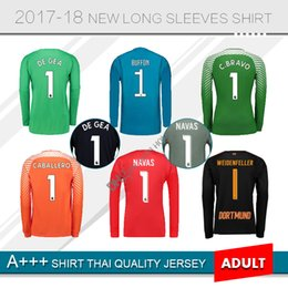 Wholesale Goalkeeper Long Sleeve - NAVAS Real Madrid Goalkeeper Soccer Jersey men Long sleeves 2017 18 DE GEA BUFFON TER STEGEN C.BRAVO HANDANOVIC Goalkeeper Football Jerseys