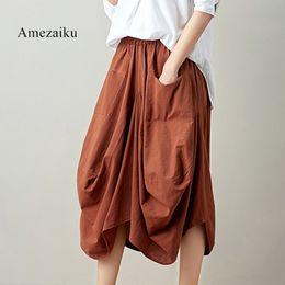 Wholesale wide leg pants skirt - 2018 New Wide Leg Pants Women Cotton Linen Big Pockets Wide Leg heran Pants Trousers Plus Size Elastic Waist Capris Skirt Pants