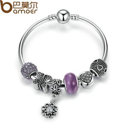 Wholesale Glass Butterfly Beads - whole saleBAMOER Silver Color Strand Bangle with Butterfly,Heart,Flower Charms Bracelets With Purple Glass Beads Jewelry PA3077