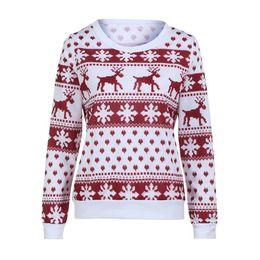 Suéter copo de nieve de venado online-2017 Invierno Suéter de Las Mujeres de Navidad ciervo y arce Lepattern Copo de nieve Impreso de Manga Larga Casual Crochet Pullover Mujer