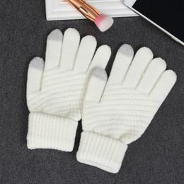 1 Para Neue Stilvolle Nützliche Weiß Grau Gestrickte Wolle Winter Warme Frauen Männer Hand Handgelenkwärmer Fingerlose touchscreen Handschuhe von Fabrikanten