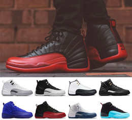 Wholesale Pink Glitter Fabric - 2018 12 12s men Basketball shoes white black the master GS Barons Wolf Grey flu game taxi playoff french blue gym red Sneakers