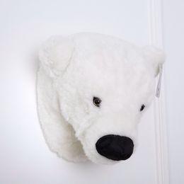 Wholesale Polar Stuff - Polar Bear Stuffed Head Wall Decor 30cm Plush Animal Head Wall Hanging Animal Head Wall Toy Nursery Kids Bedroom