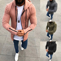 Wholesale Slim Fit Blouse - New Fashion Men Long Sleeve Hooded Jacket Autumn Winter Plus Size Casual Zipper Coat Slim Fit Casual Pullovers Outwear Hoodies Blouse