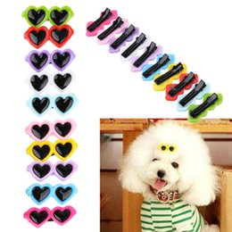 Wholesale puppy hair bows - Pet Lovely Heart Sunglasses Hairpins Pet Dog Bows Hair Clips For Small Puppy Cat Teddy Pet Hair Decor DDA467