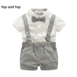 Wholesale Boys Gray Suspenders - 2018 summer style baby boy clothing set newborn infant clothing 2pcs short sleeve t-shirt + suspender gentleman suit